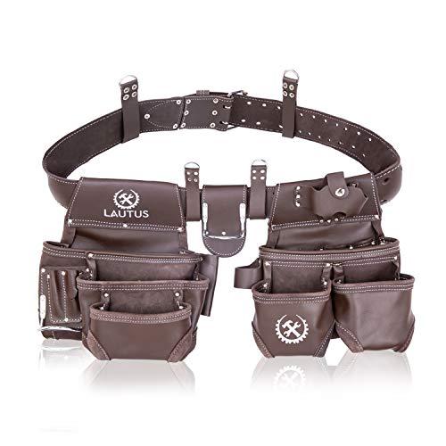 LAUTUS Top Grain Leather Heavy Duty Tool Belt/Pouch/Bag, Framer, Carpenter, Construction, Framers, Handyman, Electrician
