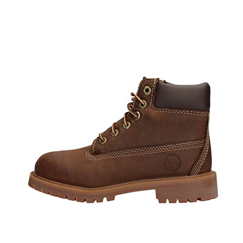 Timberland Authentics 6 inch Waterproof (Youth), Stivali Unisex-Bambini, Marrone Brown Brown Smooth, 30.5 EU