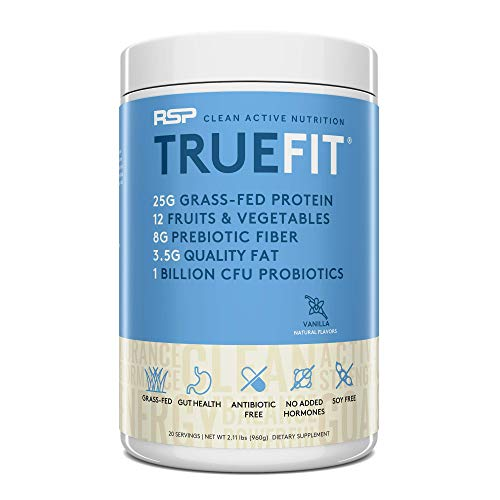 RSP TrueFit - Protein Powder Meal Replacement Shake for Weight Loss, Grass Fed Whey, Organic Real Food, Probiotics, MCT Oil, Non-GMO, Gluten Free, No Artificial Sweeteners, 2 LB Vanilla
