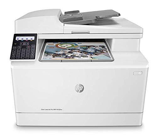 HP Color LaserJet Pro MFP M183fw 7KW56A, Impresora Láser Color Multifunción, Imprime, Escanea, Copia y Fax, Wi-Fi, Ethernet, USB 2.0 de alta velocidad, HP Smart App, Panel de control LCD, Blanca