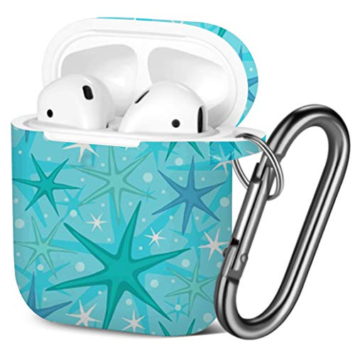 Shockproof Soft TPU Gel Case Cover with Keychain Carabiner for Apple AirPods Colorful Flip Flops Compatible with AirPods 2 and 1