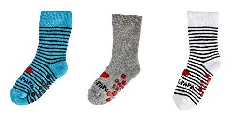 socksPur BABY SÖCKCHEN IN MEHRERE MOTIVE und ABS 3er PACK (74-80, 5173: I Love! Mama und Papa in türkis-grau-weiß mit ABS)