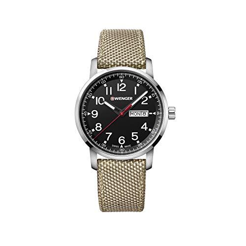 Wenger Hombre Attitude - Reloj Suizo de Cuarzo analógico de Acero Inoxidable/Nylon 01.1541.111