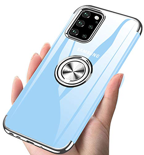 ZHIYIJIA Samsung Galaxy S20 Plus / S20+ Case 6.7' Clear 360 Rotating Ring Holder Electroplate Frame Full-Body Protection Shockproof Flexible TPU Bumper Phone Case - Silver