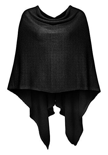 Cashmere Dreams Poncho-Schal aus Baumwolle - Hochwertiges Cape für Damen - XXL Umhängetuch und Tunika - Strick-Pullover - Sweatshirt - Stola für Sommer und Winter Zwillingsherz (black)