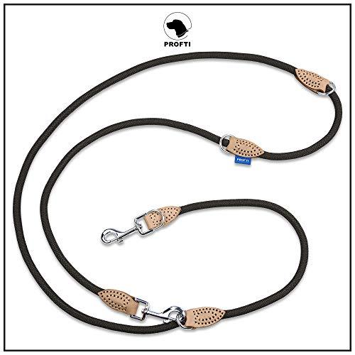 PROFTI Hundeleine aus Nylon, Lederelemente, 4fach verstellbar, große/kleine Hunde, 230cm lang, robust/schwer, Schwarz