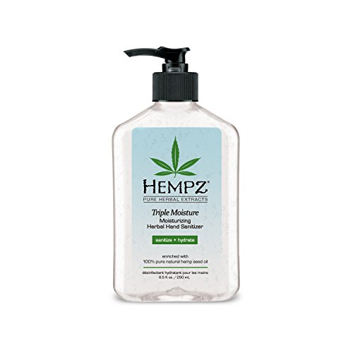 Hempz Triple Moisture Herbal Moisturizing Hand Sanitizer, 8.5 oz. - Scented Antibacterial Gel for Hands - Pump Bottle, Kills 99% of Germs, Grapefruit Fragranced Antiseptic with Skin Hydration