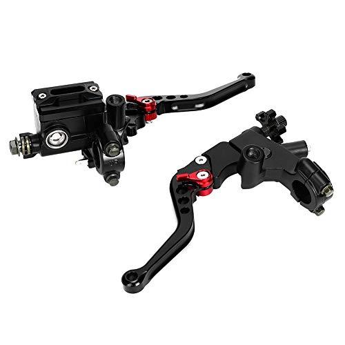 Motorrad Kupplungs Bremshebel, Akozon Universal 7/8in Hydraulic Adjustable Brake Obere Pumpe Kupplungshebel Griffbaugruppe Motorradlenker Zubehör(Schwarz)