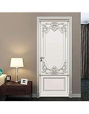 ドアステッカー3D壁画粘着壁紙レリーフ石膏彫刻ヨーロピアンスタイルのリビングルーム寝室壁画ステッカーウォールステッカー77X200cm