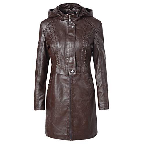 TEFIIR Lederjacke Kunstlederjacke mit Kapuze Klassische Damen Lange Jacke mit Reißverschluss Übergroße Kapuzenpullover Hoodies Winter Warm Mantel