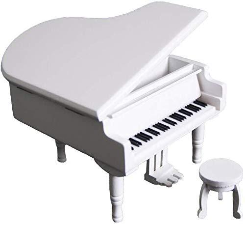 Poppy 18 Notas Retro Wind-Up Piano de Madera Musical Box, Regalo de Madera Caja de música Simulación, Juego de Tronos Tema Musical Box, con el Movimiento sobrerregulación en, White
