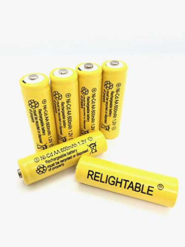 Relightable NiCd AA/AAA 600mAh 1.2V Rechargeable Batteries for Solar Lights, Garden Lights and Remotes (6PCS AA 600mAh Batteries)