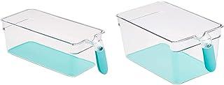 Amazon Basics Bacs avec poignée pour réfrigérateur Petit Lot de 2 & Bacs avec poignée pour réfrigérateur Grand Lot de 2