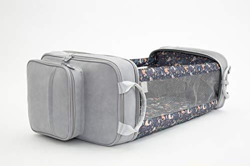Bizzi Growin Vegan Leather Pod RucPod Grey - Baby Changing Bag/Crib/Backpack Open: W42cm x H30cm X L75cm LRPOD09