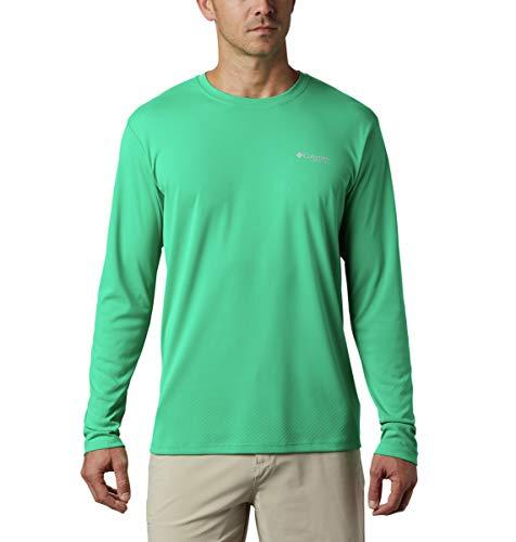 Columbia PFG Zero Rules - Camiseta de Manga Larga para Hombre, Hombre, 1536111, Lima Oscuro, Small