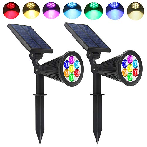 Lapeort Solar Lights Outdoor 2-in-1 Waterproof Solar Spotlights Colored 7 LED Adjustable Garden Wall Lighting Dusk to Dawn for Landscape Trees Yard Pathway Lawn Decor Auto On/Off (2-Pack)