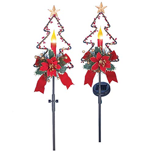 Solar Powered Candle Christmas Tree Shape Stake with Red Poinsettia Blossom