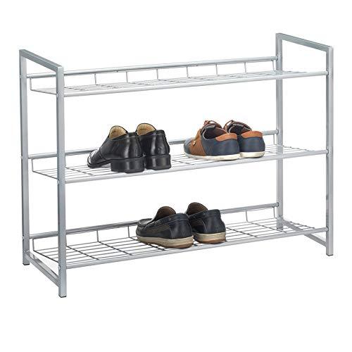 CARO-Möbel Schuhregal System Schuhständer Schuhablage mit 3 Fächern für ca. 12 Paar Schuhe, 80 cm breit, Metall Silber lackiert