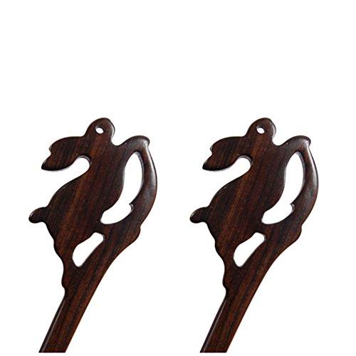 BOCHION 2 Pièces Lapin En Forme de Bâton De Cheveux À La Main Sculpté Épingle À Cheveux Femmes Fille Cheveux Accessoires Animal En Forme (2 pièces lap