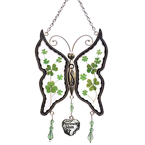 KY&BOSAM Shamrock Mom Butterfly Suncatchers Glass Irish Celtic Suncatchers Art Glass Suncatchrs St Patrick's Day Decoration, Irish Gift in-Law Gift, Irish Family Shamrock Suncatchers