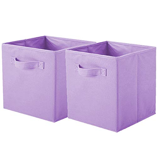 ShellKingdom Foldable Cloth Storage Cube Basket Bins Organizer Containers Drawers (2, Lavender)