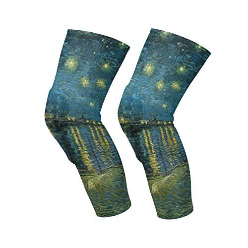 AHOMY Van Gogh Noche estrellada sobre el Ródano 1 par de mangas de apoyo para la pierna para baloncesto, entrenamiento, correr, ciclismo, fútbol, deporte