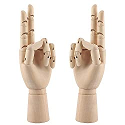 top rated 10 inch wooden hand model Flexible poseable mannequin with fingers Left / right model… 2021