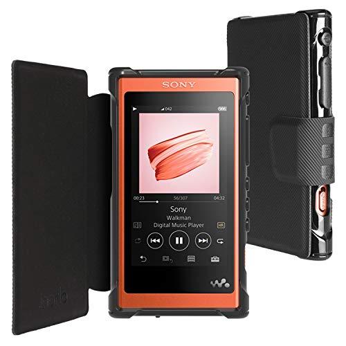 inorlo PU Leder Flip Tasche Schutzhülle für Sony Walkman NW-A55L, MP3-Player Etui Case Cover mit Magnetverschluss + Displayschutzfolie (Schwarz)