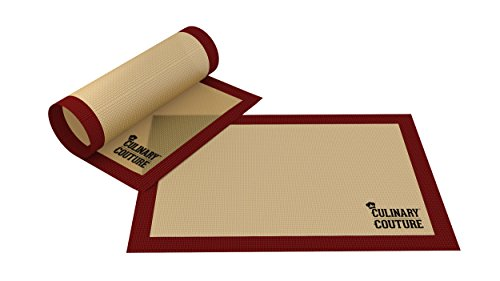 Culinary Couture Silicone Baking Mat Set (2) Non-Stick Cookie Sheet - Fits Half Sheet - for Bread Making Pastry Macarons Biscuit Buns - 16-5/8 x 11 Inch - Bonus Ebook!