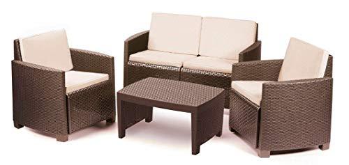 IPAE-PROGARDEN Set da Giardino 1 Divano 2 Sedie 1 Tavolino con Cuscini Moka - Modello Lipari