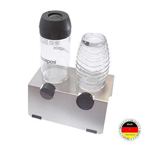 FGE-Line 2er Abtropfhalter passend für z.B. SodaStream Flaschen | Flaschenhalter für Glas- & PET-Flaschen | spülmaschinenfest & rostfrei | Made in Germany