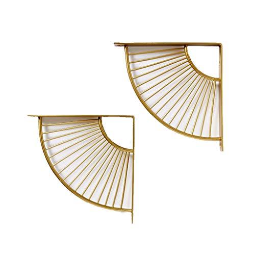 KKYY Scallop Bracket, Wall Mounted Steel Matte Gold Bracket Shelving Ondersteuning voor planken, Triangle Wandplank Goud Metaal Rechthoek Partitie Bracket,2 Pack