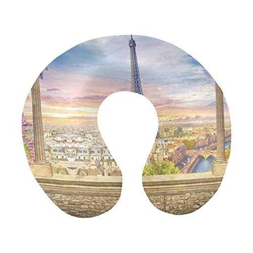 Affresco digitale Bella Parigi Torre Eiffel Vista dalla terrazza Cuscino da viaggio Comfort a forma di U Cuscino per collo in memory foam per aereo, auto, ufficio, sonno