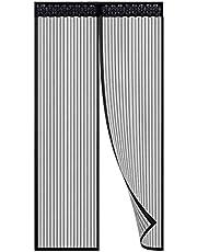 Magnetische hordeur, 90x220cm, Zwart deurgordijnen vliegenhor met magneet, automatisch sluitend, gaasgordijn magneetgordijn vliegengordijn voor balkon veranda woonkamer kinderkamer