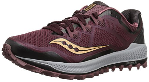Saucony Women's Peregrine 8 Running Shoe, Wine/Beach, 9 Medium US
