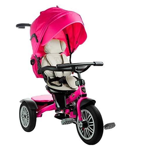 fit4form Dreirad Premium Deluxe mit Luftreifen, Sonnenschutz, Lenkstange u. Korb pink