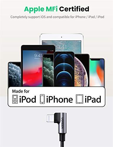 UGREEN USB-C auf Lightning Kabel 90 Grad MFi Lightning Ladekabel Typ C Winkel Power Delivery kompatibel mit iPhone 12, SE, 11 Pro Max, XR, XS Max, X, 8, 8 Plus, iPad 2020, AirPods Pro usw. (1M)