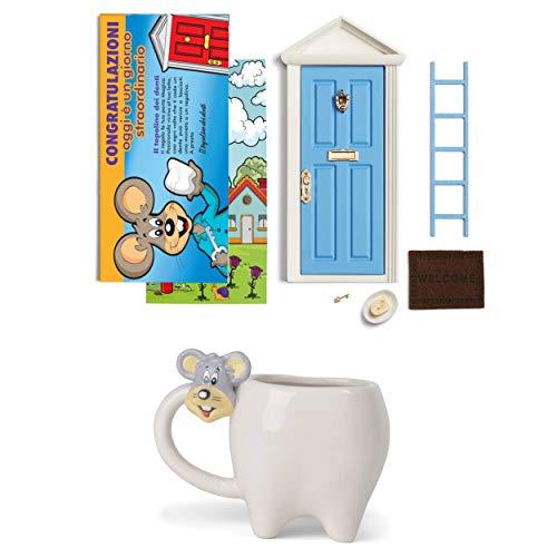 LA PUERTA MÁGICA Puerta mágica del Mickey de los dientes + taza con forma de diente + tarjeta de felicitación (versión italiana) (azul)