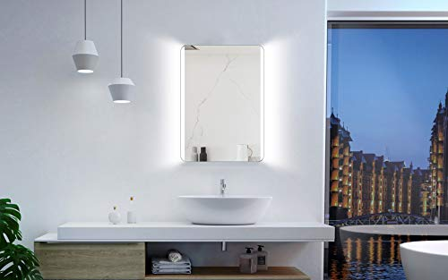 Badspiegel mit Beleuchtung Talos Chic - Badezimmerspiegel 50 x 70 cm - Badspiegel mit hinterleuchteten Lichtausschnitten - vertikale und horizontale Aufhängung