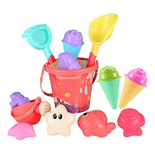 iBaseToy Beach Sand Toy, Ice Cream Mold Set for Toddlers & Kids, Sandbox Toys with 6 Ice Cream Mold, 6 Animal Molds, Beach Bucket, Watering Can, Shovels & Rakes, 16 Pieces