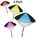 Toys+ 4 Pack Tangle Free Throwing Parachute Man with Large 20' Parachutes! Blue, Orange, Pink and Yellow