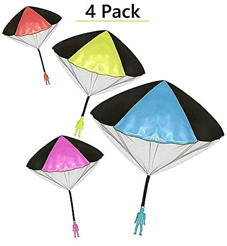 Toys+ 4 Pack Tangle Free Throwing Parachute Man with Large 20