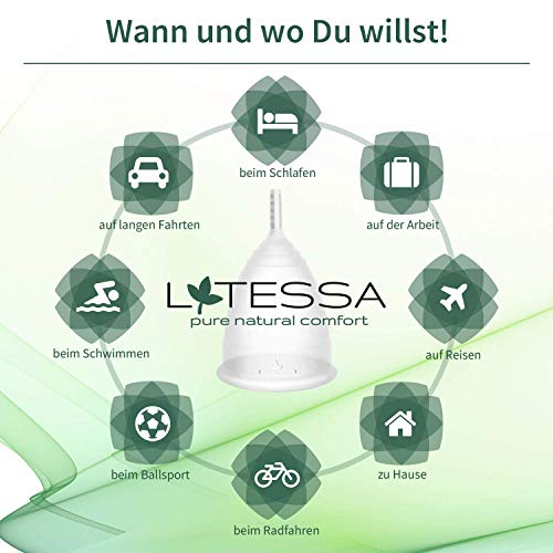 LATESSA Menstruationstasse – Made in Germany – geruchlos – farbstofffrei – medizinisches Silikon – Alternative zu Tampons und Binden – Menstruationstassen als nachhaltige Monatshygiene – Größe 1 – klein - 4