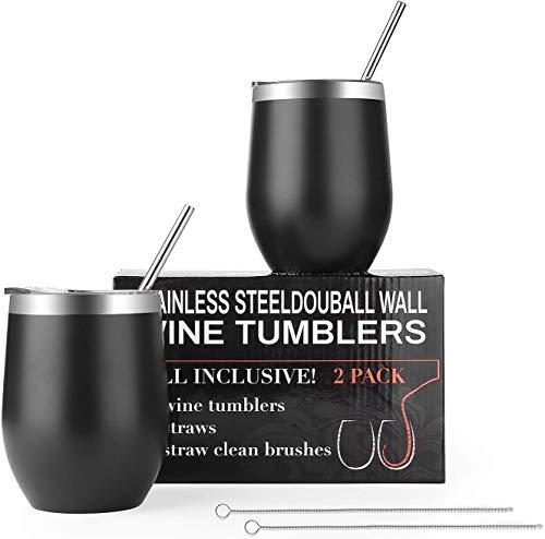 EKKONG 350ml Edelstahl Weingläser - 2er Set - Doppelwand Vacuum Insulated Travel Tumbler mit Deckel, Stroh und Bürsten perfekt für Wein, Kaffee, Getränke, Champagner, Cocktails (Schwarz)