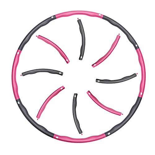 Hula Hoop Reifen, Hula Hoop für Erwachsene & Kinder, EIN 6-8-Teiliger Abnehmbarer Schaumstoff Hoola Hoop Reifen für Fitness/Training/Bauchmuskelkonturen, 1.4 kg, zur Gewichtsabnahme und Massage(Rosa