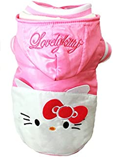 PET APPAREL: Pink Lovely Kitty, White Hello Kitty Warm Winter Hoodie Jacket Coat Sweater Sweatshirt Clothing
