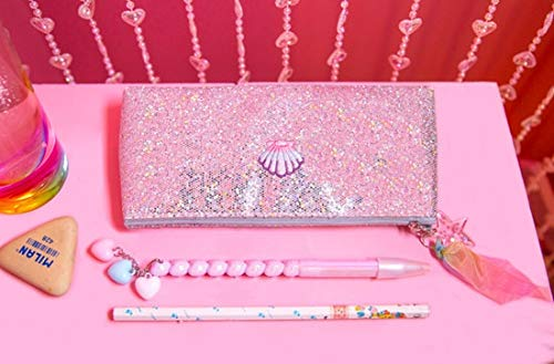 Silver Pink Unicorn Makeup Brush Bags Pouch for Women Sequins Laser Cosmetic Casepencil Bags Silver
