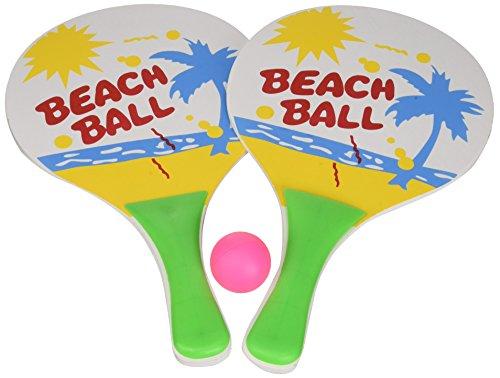 Idena 7408448 - Beachball Set mit 2 Schlägern und einem Ball, Ballspiel für Kinder und Erwachsene, ideal im Sommer für Garten, Park oder Strand