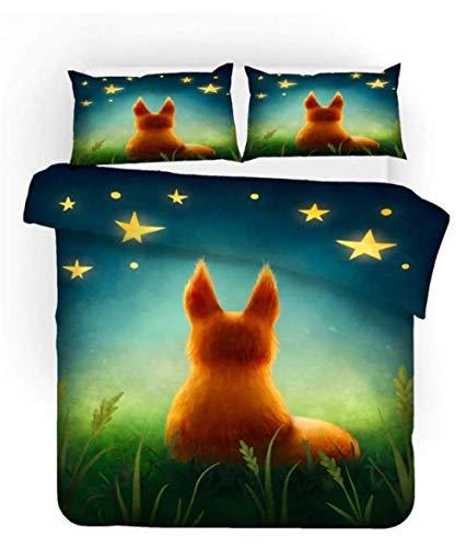3Pcs Duvet Cover Sets Star Fox With Duvet Cover And Pillow Case, Polyester-Cotton, Multi-Colour 200Cmx200Cm