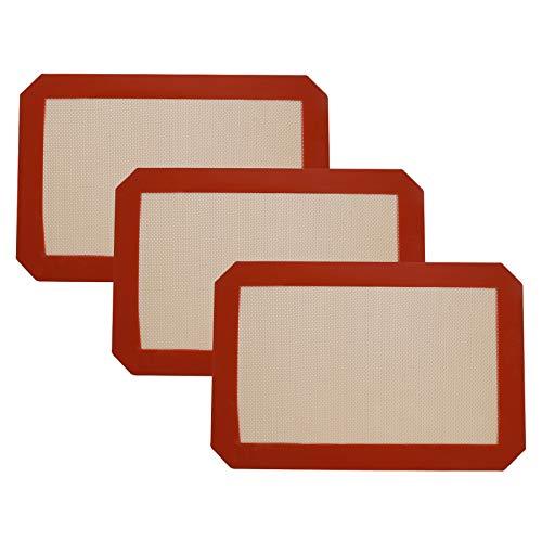 Yizhet 3 Piezas Alfombrilla de Silicona para Hornear Reutilizable Lámina de Silicona Antiadherente Antideslizante para Masas, Base Resistente al Calor Tapetes para hornear, Láminas de Horno